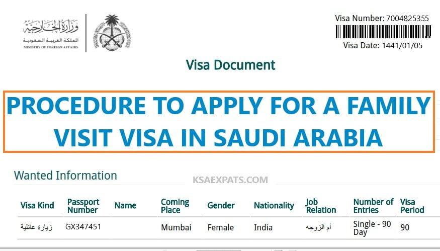 Procedure To Apply For A Family Visit Visa In Saudi Arabia Ksaexpats Com