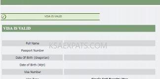 EXIT RE-ENTRY STATUS, KSA, CHECK VISA STATUS, VISA VALIDITY