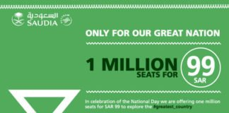 SAUDIA -SAUDI AIRLINES 89TH NATIONAL DAY OFFER SR 99 1 MILLION SEATS