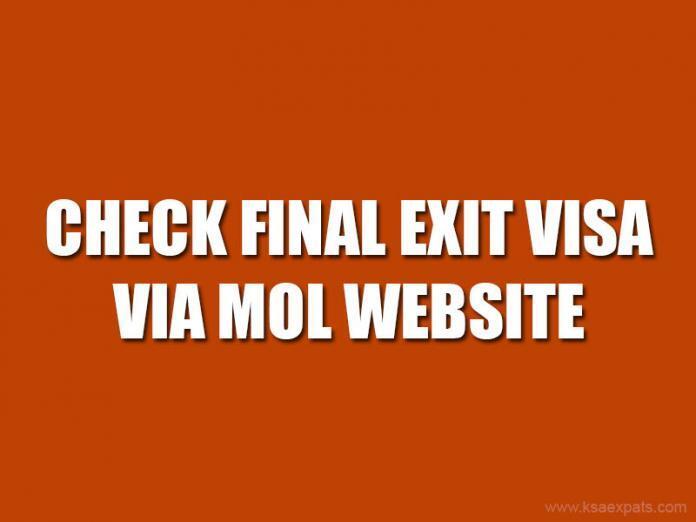 Check Final Exit Visa via MOL website