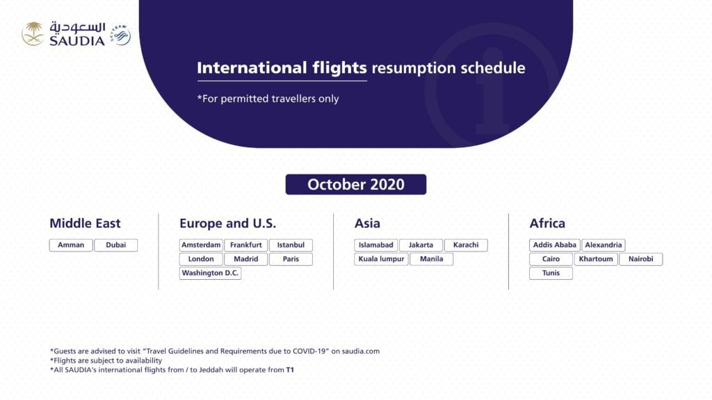 Saudia announces international flights resumption schedule for October 2020